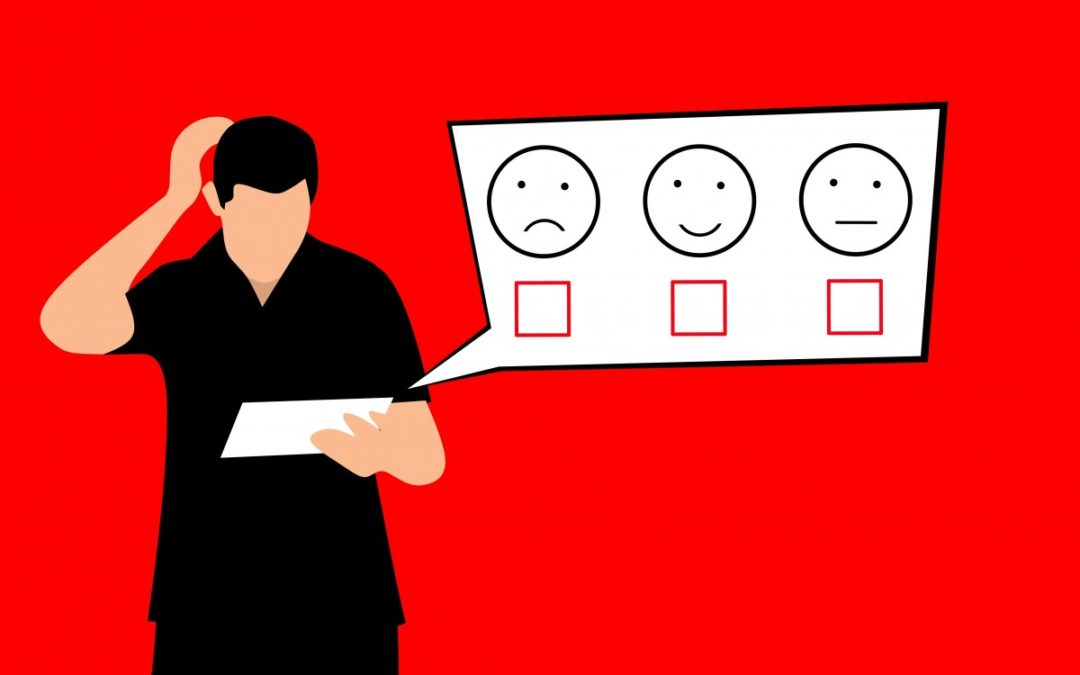 Illustration of a person holding a feedback survey