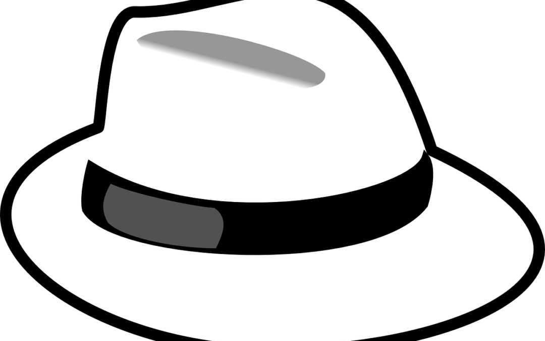 A digital render of a traditional white hat with a black stripe around